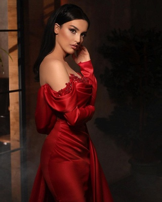 Prom dresses with sleeves | Red evening dress long_3