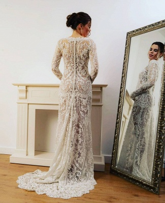 Designer wedding dresses mermaid lace | Simple wedding dress with sleeves_2