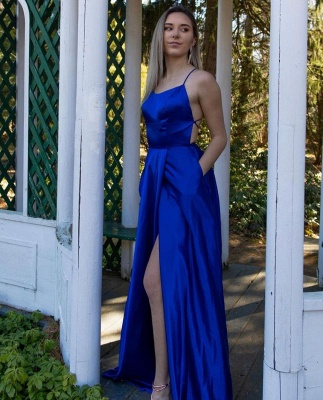 Simple evening dress king blue | Prom dresses long cheap_3