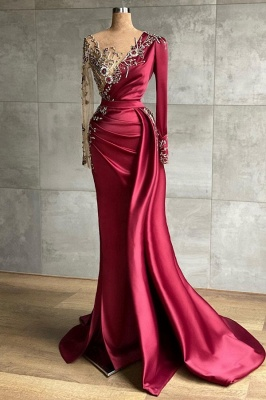 Red evening dress long | Prom dresses with sleeves_1