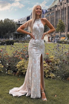 Elegant evening dresses long white | Lace prom dresses