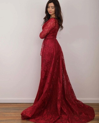 Rote Abendkleider Lang Spitze | Abiballkleider mit Ärmel_2
