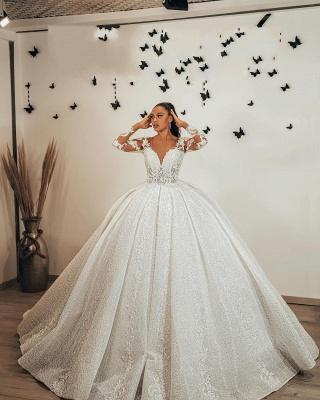 Wunderschöne Brautkleider Glitzer | Prinzessin Hochzeitskleider mit Ärmel_3