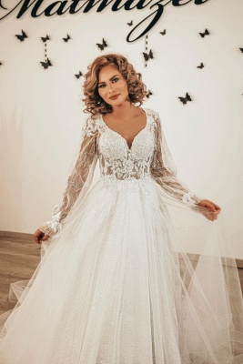 Designer wedding dresses lace | Boho wedding dresses with sleeves