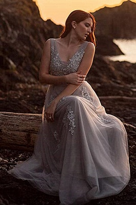 Elegant Evening Dresses Long V Neck | Prom dresses with lace_12