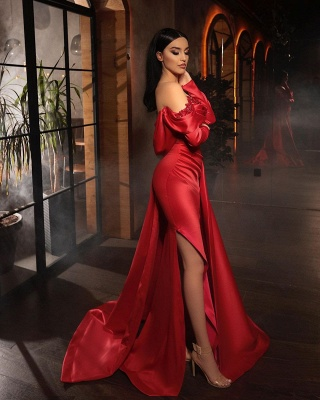 Prom dresses with sleeves | Red evening dress long_2