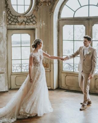 Schlichtes Hochzeitskleid Spitze | Boho Brautkleider Günstig_5