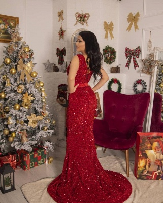 Red prom dress long | Prom dresses with glitter_2