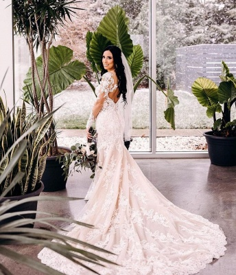 Mermaid lace wedding dress | Wedding dresses long sleeves_2