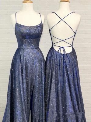 Abendkleider Lang Glitzer | Blaue Abiballkleider Günstig_2