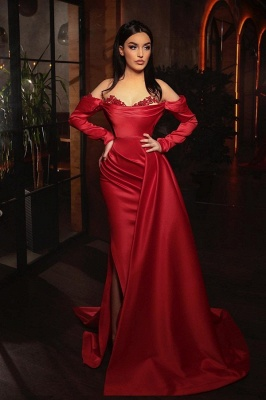 Prom dresses with sleeves | Red evening dress long_1