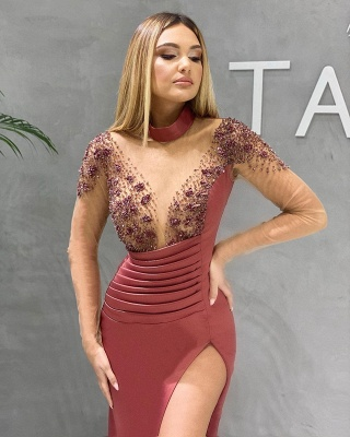 Sexy Abiballkleider Lang Rot | Ballkleider mit Ärmel_2