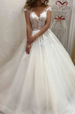 Cheap Sleeveless Tulle A Line Wedding Dresses_1