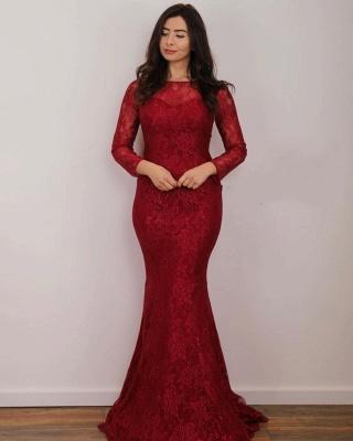 Rote Abendkleider Lang Spitze | Abiballkleider mit Ärmel_3