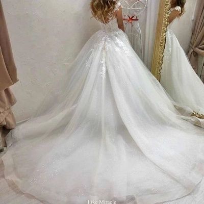 Cheap Sleeveless Tulle A Line Wedding Dresses_2