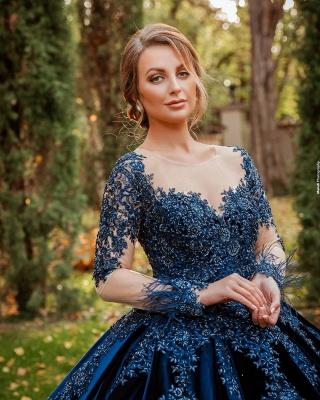 König Blau Velvet Abendkleider Mit Ärmel | Abiballkleider Lang Günstig_2