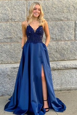 Elegant evening dresses blue | Prom dresses long cheap