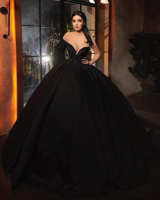 Fashion Evening Dresses Long Black | Prom dresses with sleeves_3