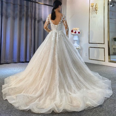 Extravagant wedding dresses A line | Lace wedding dresses with sleeves_3