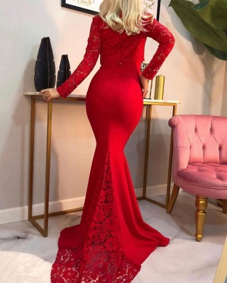 Evening dress long red | Lace prom dresses with sleeves_2