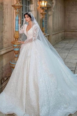 Extravagant wedding dresses glitter | Princess wedding dresses lace sleeves
