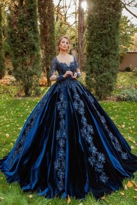 König Blau Velvet Abendkleider Mit Ärmel | Abiballkleider Lang Günstig_1