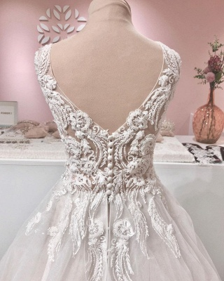 Vintage wedding dress A line lace | Wedding dresses tulle online_4