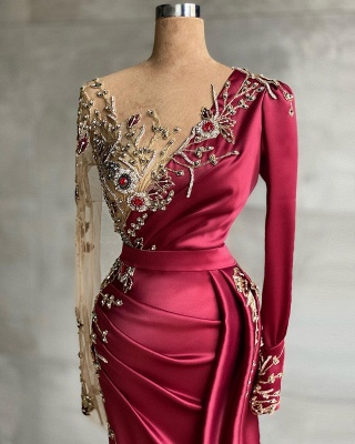 Red evening dress long | Prom dresses with sleeves_2