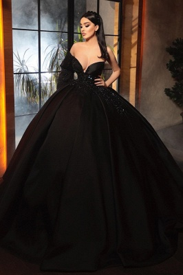 Fashion Evening Dresses Long Black | Prom dresses with sleeves_1