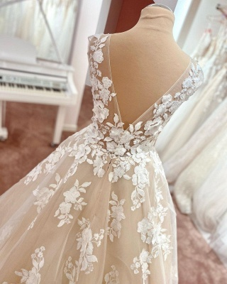 Simple wedding dress lace | Wedding dress V neckline A line_2