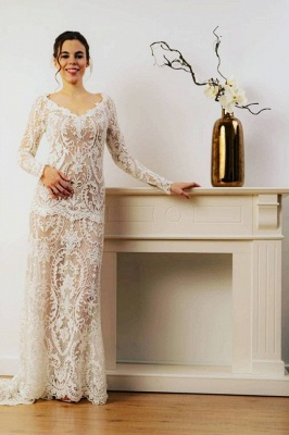 Designer wedding dresses mermaid lace | Simple wedding dress with sleeves