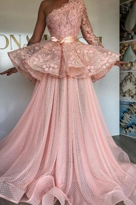 Elegant evening dresses long pink | Prom dresses with lace