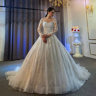 Extravagant wedding dresses A line | Lace wedding dresses with sleeves_2