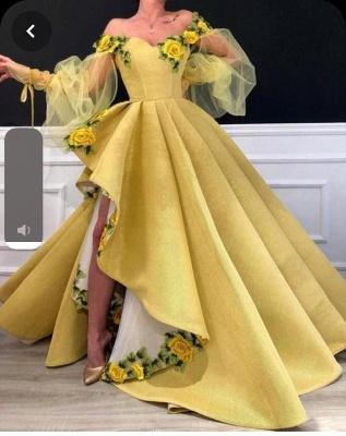 Einfach Gelb Lang Abschlussballkleider Günstig Satin Abednkleider Abendmoden_2