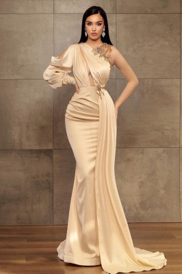 Simple evening dress | Long prom dresses with sleeves_1
