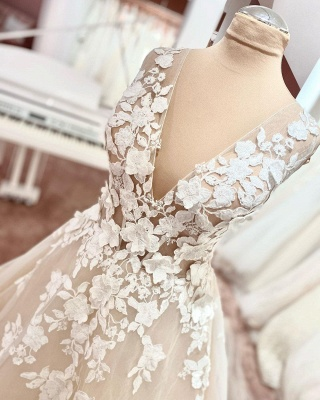 Simple wedding dress lace | Wedding dress V neckline A line_3