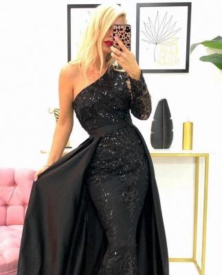 Designer Abendkleider Lang Schwarz | Abiballkleider mit Glitzer_2