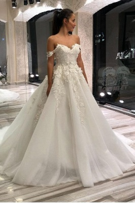 Beautiful wedding dresses A line | Tulle wedding dresses with lace_1