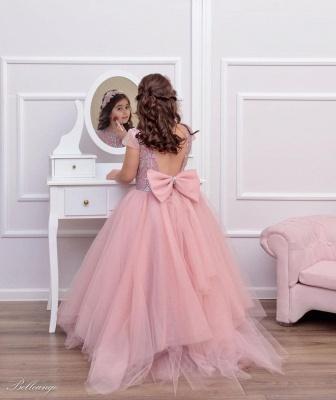 Rosa Blumenmädchenkleider Günstig | Kinder Hochzeitskleider_2