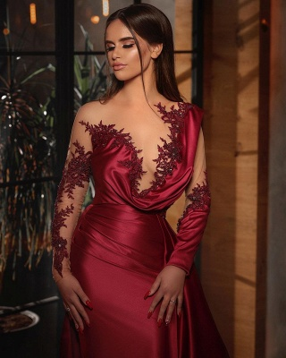Elegant red prom dresses | Cheap evening dresses with sleeves_2