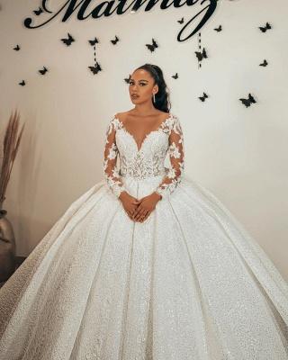 Wunderschöne Brautkleider Glitzer | Prinzessin Hochzeitskleider mit Ärmel_2