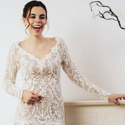 Designer wedding dresses mermaid lace | Simple wedding dress with sleeves_3
