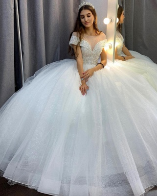 Luxury wedding dress A line | Wedding dresses tulle cheap_2