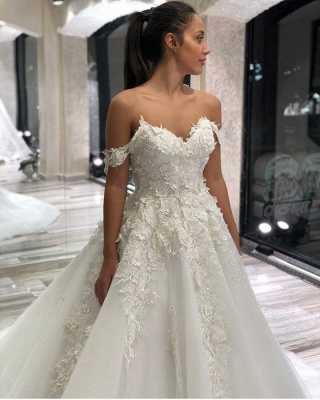 Beautiful wedding dresses A line | Tulle wedding dresses with lace_2