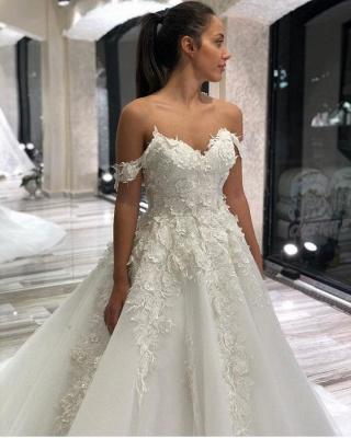 Schöne Brautkleider A Linie | Tülle Hochzeitskleider mit Spitze_2