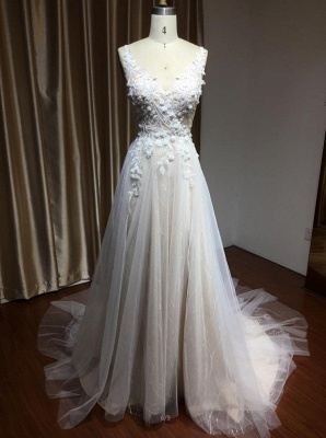 Simple wedding dress tulle | Wedding dresses A line lace_4