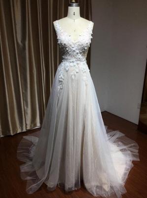 Schlichtes Brautkleid Tüll | Hochzeitskleider A Linie Spitze_4