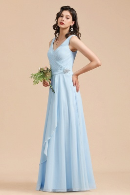 Schöne Brautjungfernkleider Lang Blau | Chiffon Kleider Für Brautjungfern_5