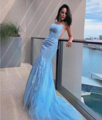 Light Blue Evening Dresses Long Cheap | Prom dresses with lace_2