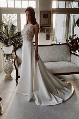 Simple wedding dress satin | Wedding dresses a line lace